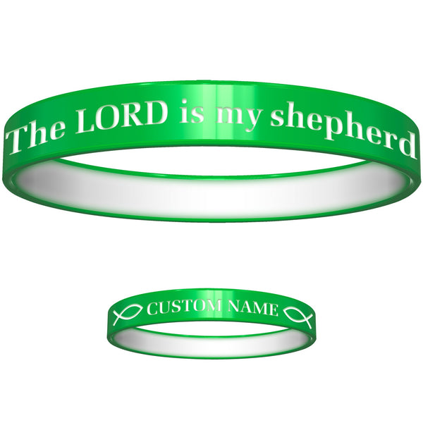 Personalized Green White Lord Silicone Religious Message Bracelet