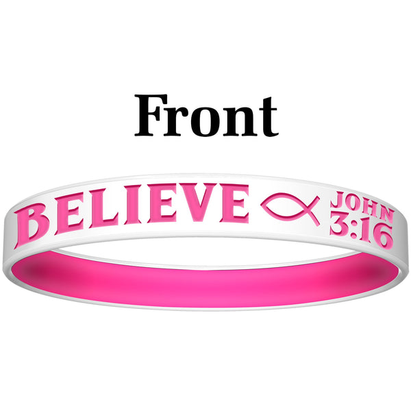 Personalized White Pink Believe Silicone Religious Message Bracelet
