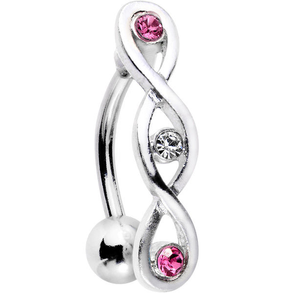 Pink and Clear Gem Infinity Loop Twist Top Mount Belly Ring