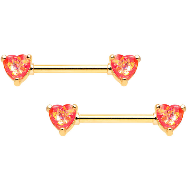 14 Gauge Coral Pink Faux Opal Heart BCR Ring Barbell Nipple Ring Set