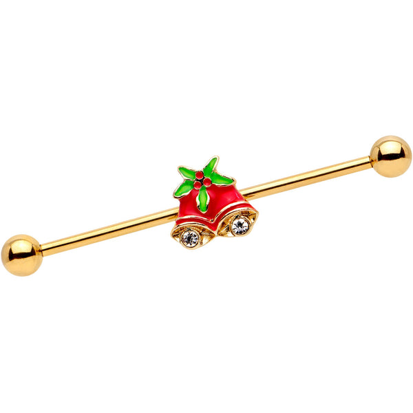 Clear Gem Gold PVD Red Christmas Bells Industrial Barbell 38mm