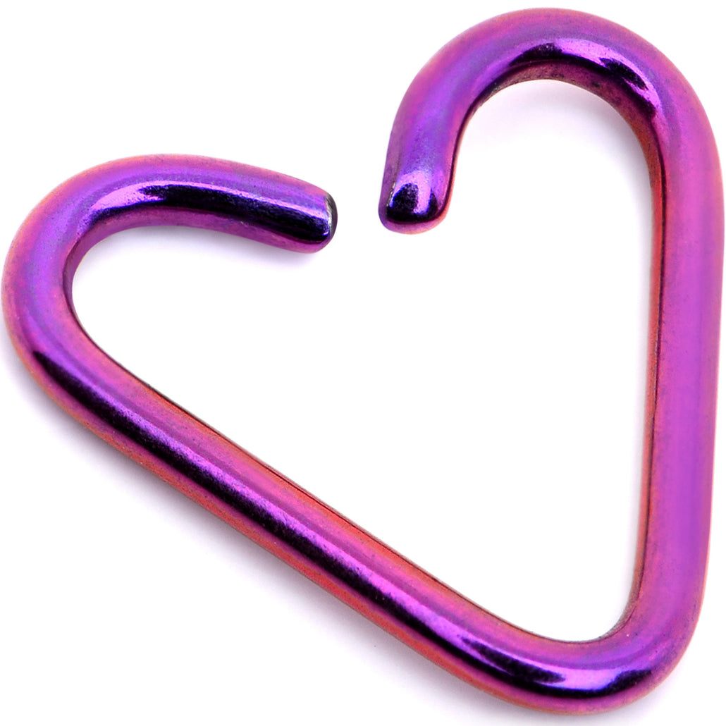 "5/16"" Annealed Purple Anodized Titanium Heart Daith Cartilage Tragus"