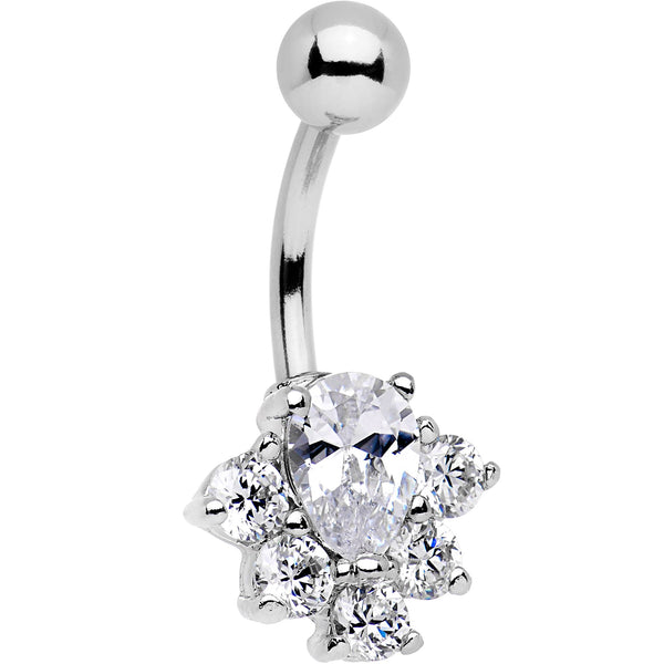 Clear Gem Bursting With Brilliance Belly Ring