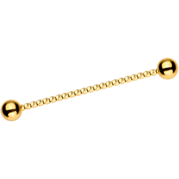 Gold Tone IP Seriously Twisted Industrial Barbell Earring 38mm