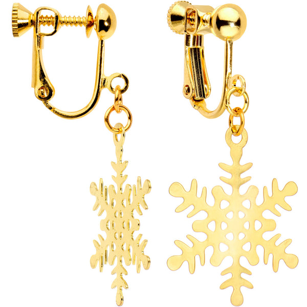 Gold Plated Holiday Snowflake Clip On Earrings