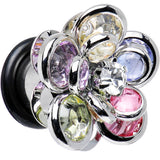 0 Gauge Pastel Rainbow Gem Petals Blooming Flower Plug Set of 2