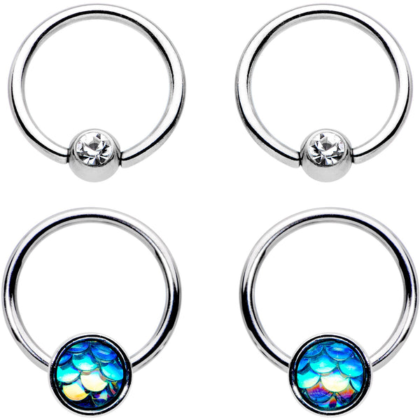 14 Gauge Clear Gem Mermaid Scale BCR Captive Nipple Ring Set of 4