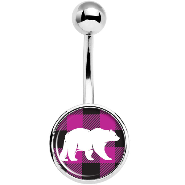 Pink Black Plaid Polar Bear Belly Ring
