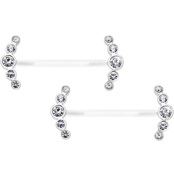 "13/16"" 925 Silver Clear Gem Bioplast Round Curve Nipple Ring Set"
