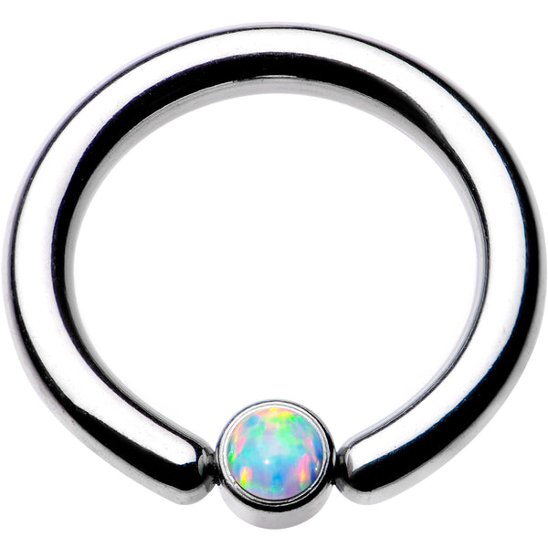"10 Gauge 1/2"" White Faux Opal 4mm Disc BCR Captive Ring"