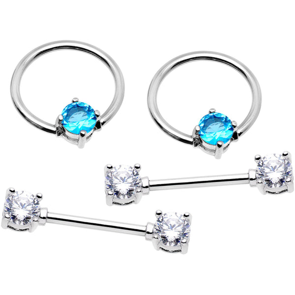 14 Gauge 5/8 Clear Aqua Gem Captive Ring Barbell Nipple Ring Set