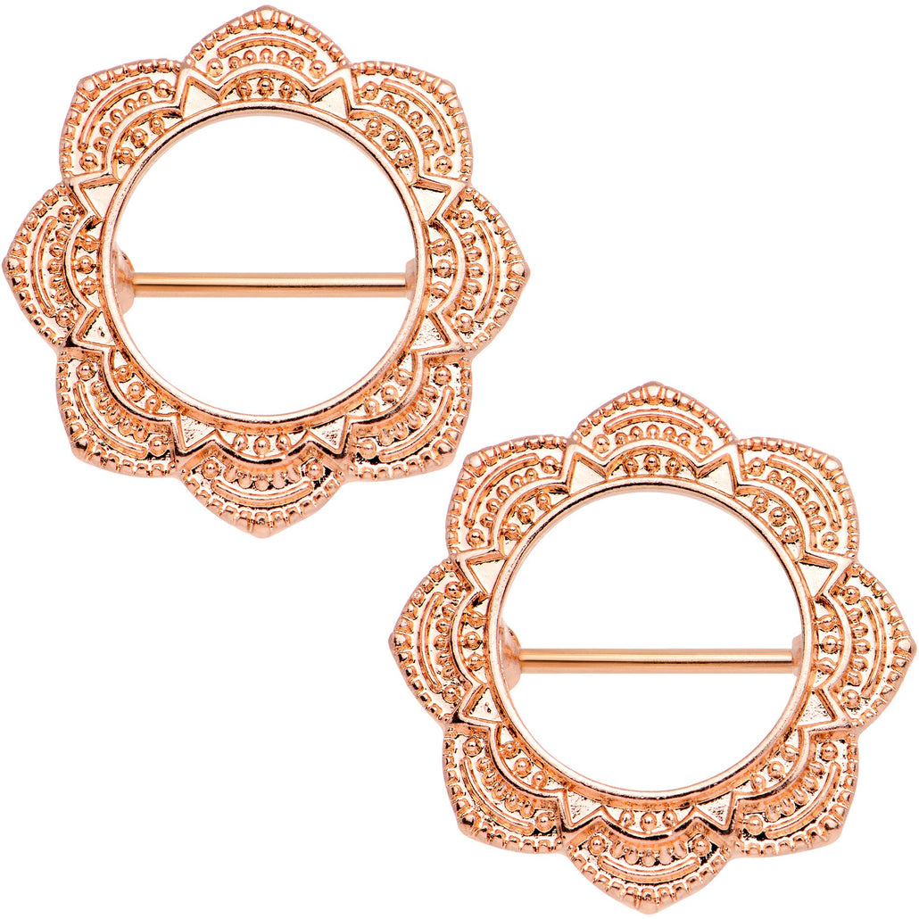 "9/16"" Divine Henna Rose Gold Tone Anodized Nipple Shield Set"