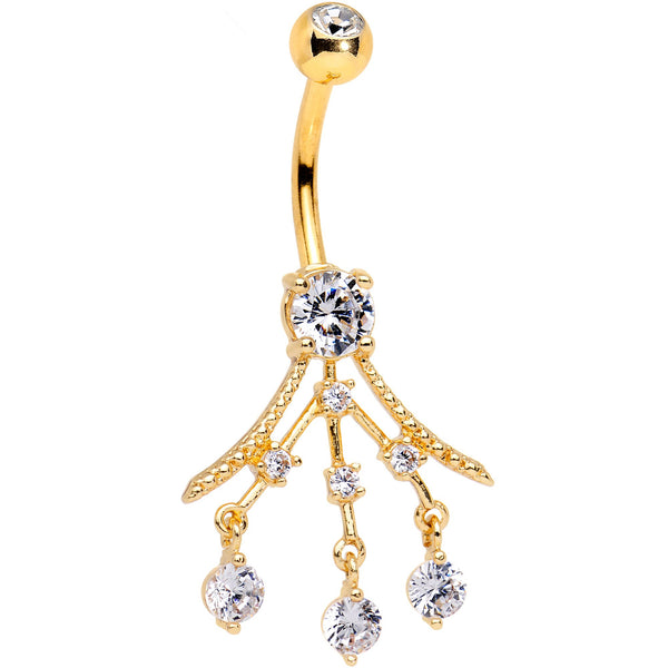 Clear Gem Gold PVD Three Segment Chandelier Belly Ring