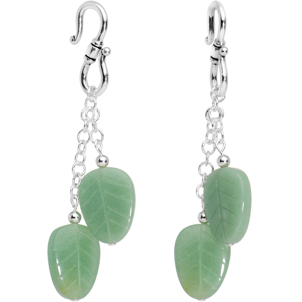 Handmade Silver Plated Green Leaf Natural Aventurine Stone Ear Weights