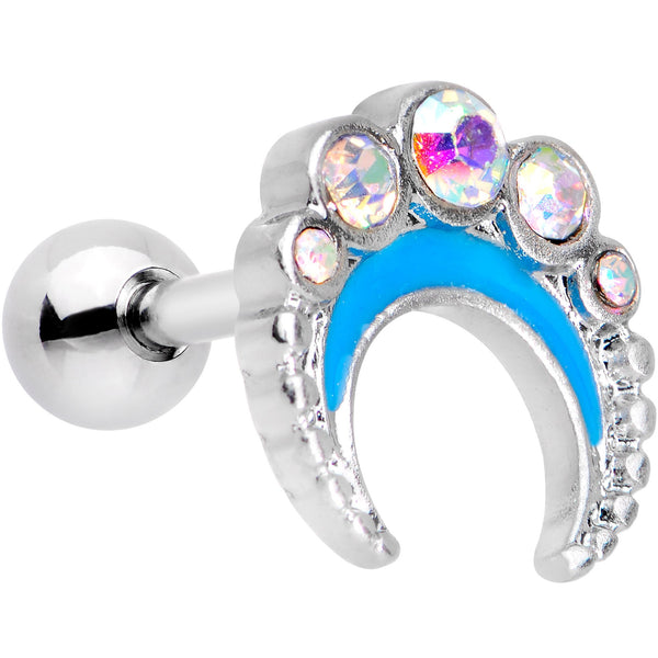 Auora Gem Encrusted Crescent Moon Cartilage Tragus Earring