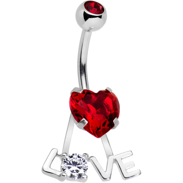 Clear Red CZ Gem Love is in the Air Dangle Belly Ring