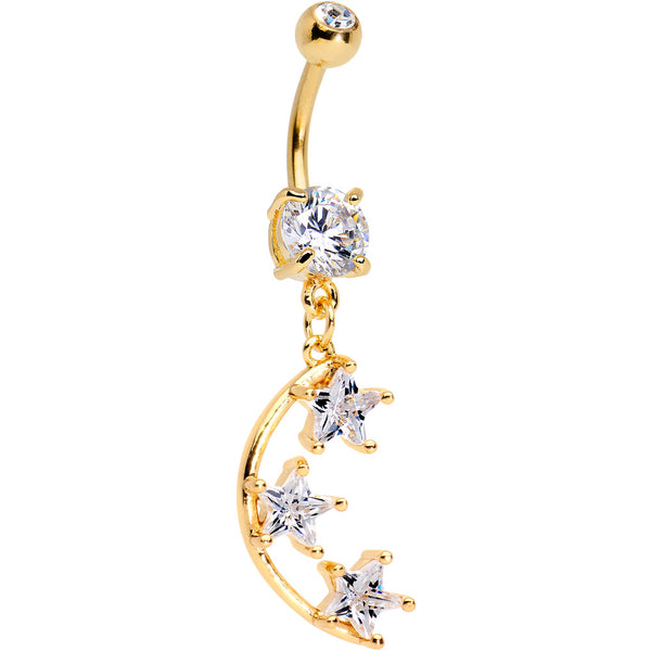 Clear Gem Gold PVD Starry Moon Dangle Belly Ring