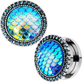 Aqua Gem Iridescent Blue Mermaid Scale Screw Fit Plug Set 6mm to 22mm