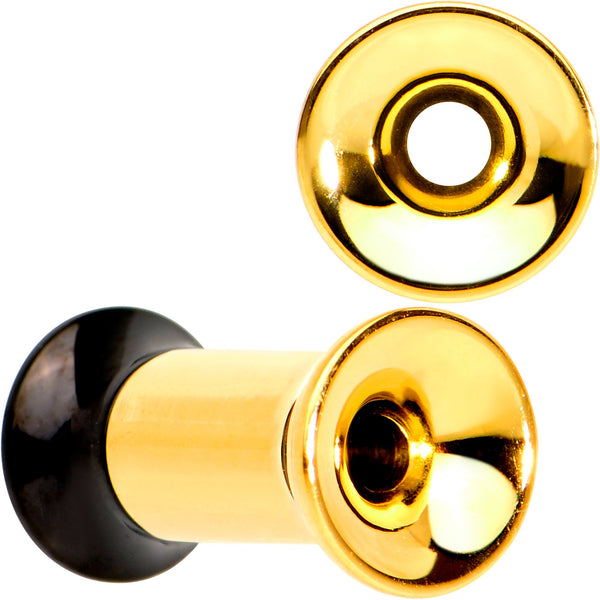 Gold PVD Black Two Tone Screw Fit Tunnel Plug Set 3mm to 16mm