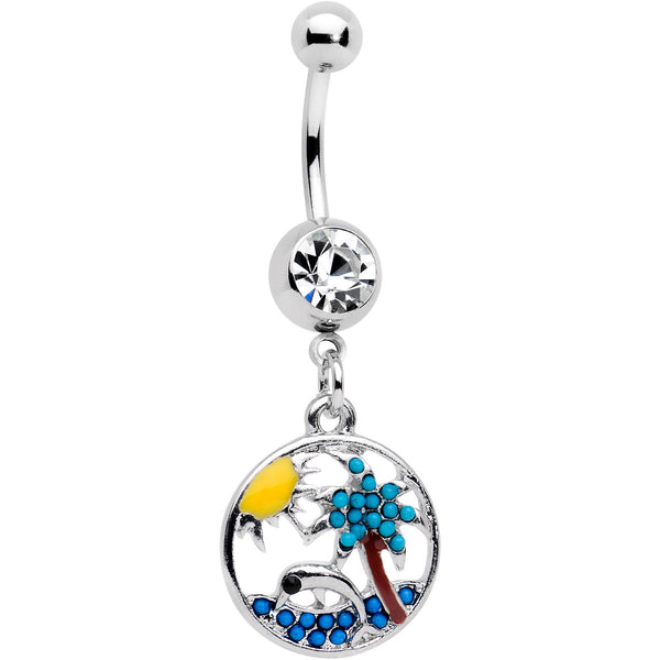 Clear Gem Tropical Paradise Dolphin Dangle Belly Ring