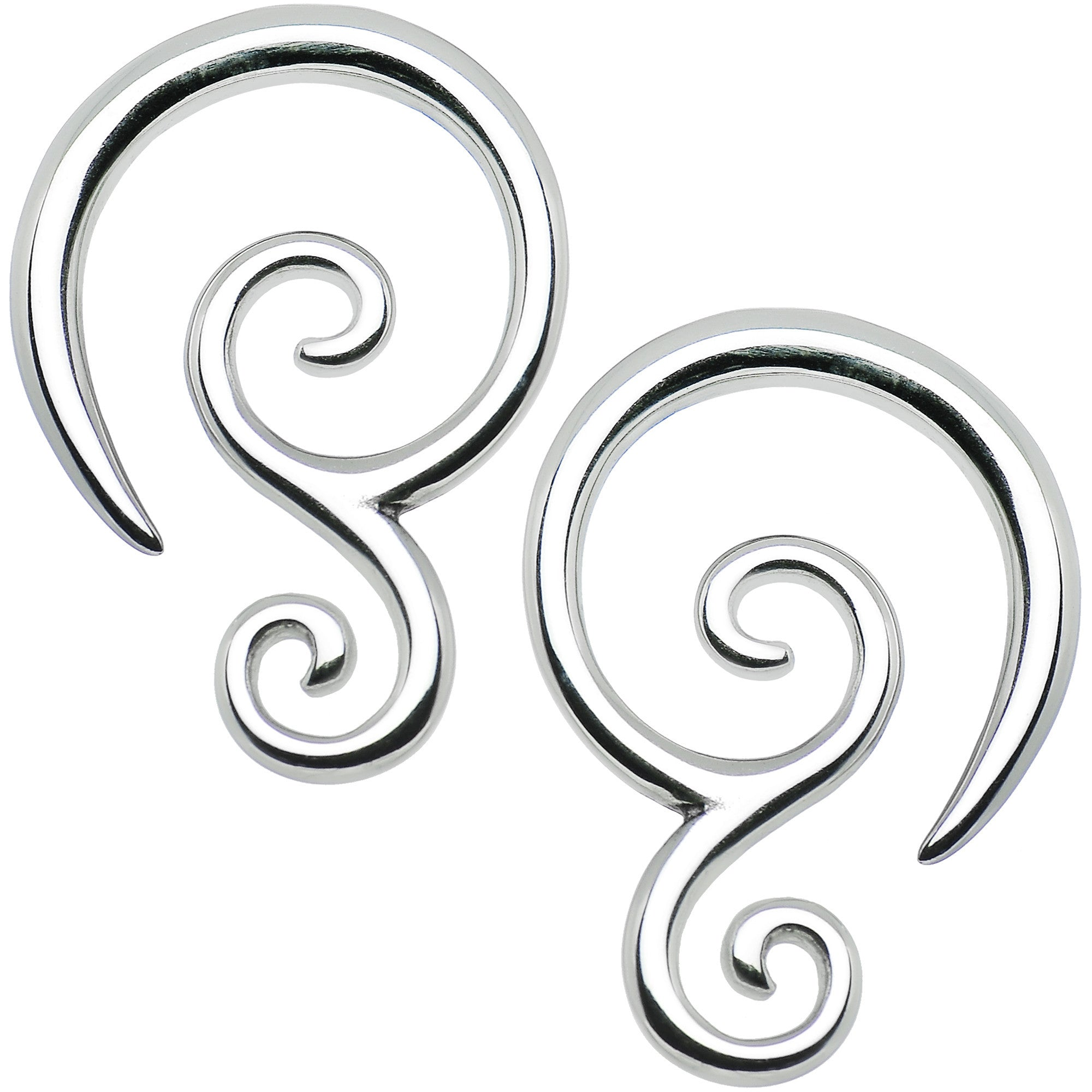 8 Gauge Stainless Steel Double Swirl Curved Taper Set