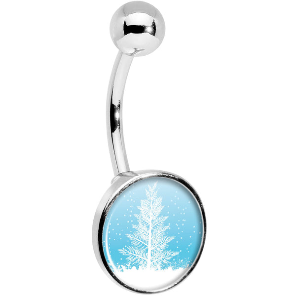 Winter Snow Covered Tree Belly Ring