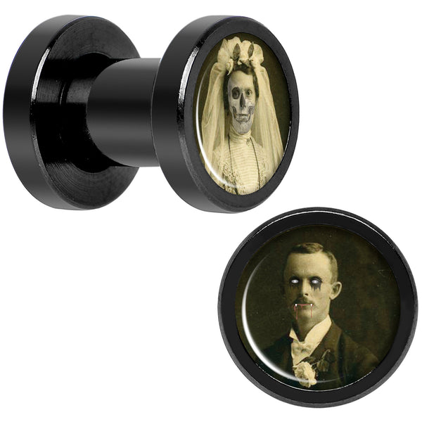 Undead Bride and Groom Halloween Black Anodized Plug Set 4 Gauge
