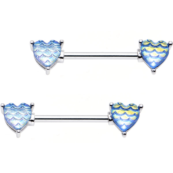 "5/8"" Iridescent Blue Mermaid Scale Heart Barbell Nipple Ring Set"