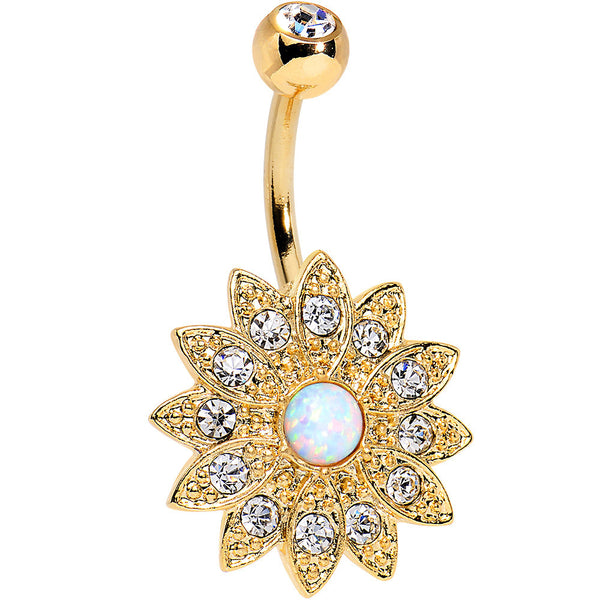 White Faux Opal Clear Gem Gold Plated Fancy Sparkle Flower Belly Ring
