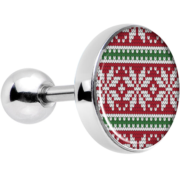 16 Gauge 1/4 Red Green Christmas Sweater Tragus Cartilage Earring