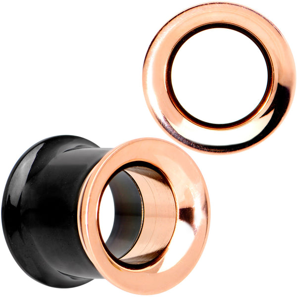 Black Rose Gold PVD Two Tone Screw Fit Tunnel Plug Set 3mm to 16mm