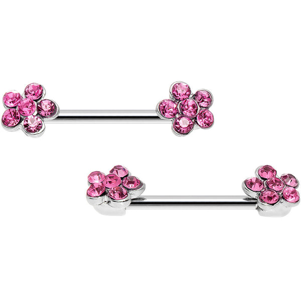 14 Gauge 5/8 Pink Gem Pluck a Flower Barbell Nipple Ring Set