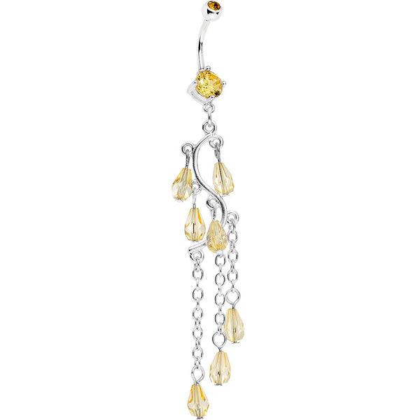 Yellow Gem Prepare To Stare Sleek Curves Dangle Belly Ring