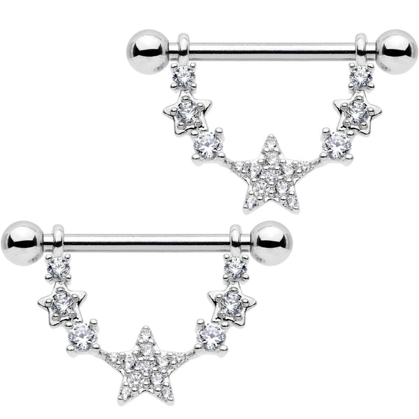 9/16 Clear CZ Gem Star Dangle Barbell Nipple Ring Set