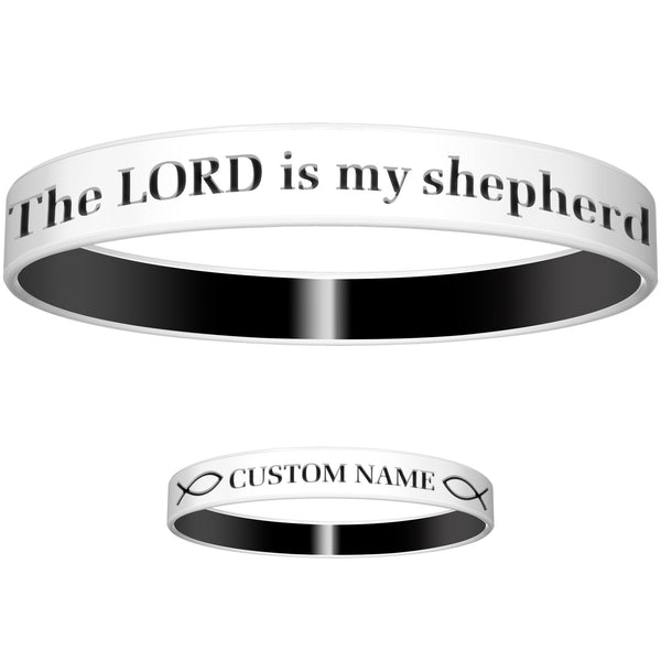 Personalized White Black Lord Silicone Religious Message Bracelet