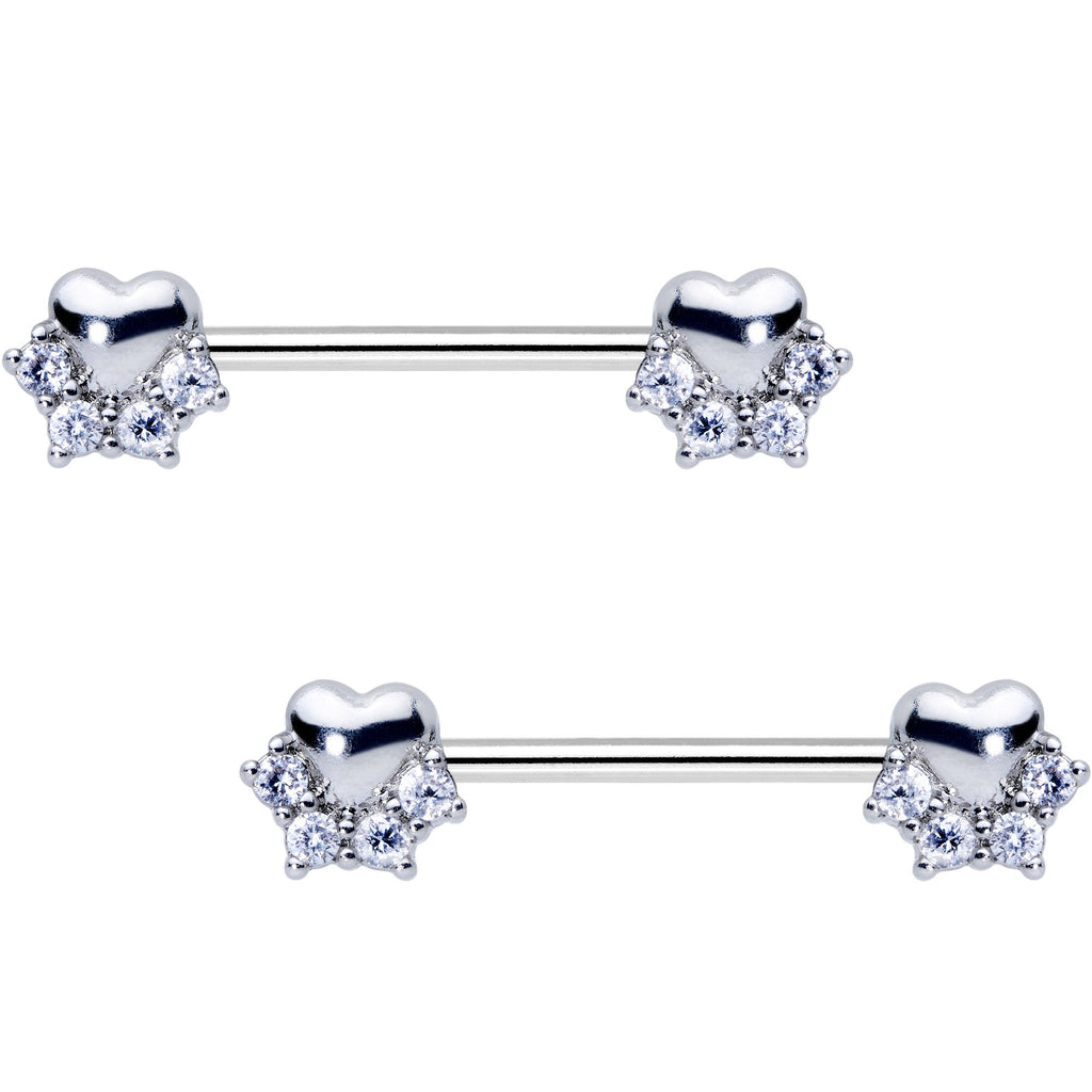 ab978f712c734 9/16 Clear CZ Gem Be My Valentine Heart Barbell Nipple Ring Set
