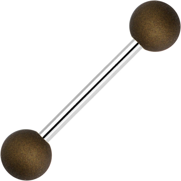 Brown Silicone Coated Acrylic Ball End Barbell Tongue Ring