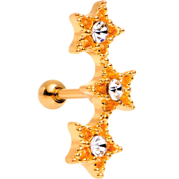 18 Gauge Clear Gem Rose Gold Plated Star Trio Cartilage Tragus Earring