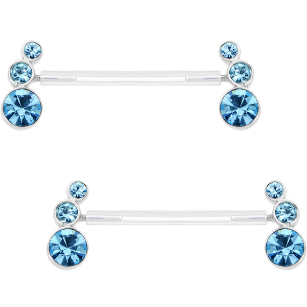 "13/16"" 925 Silver Aqua Gem Bioplast Triple Twist Nipple Ring Set"