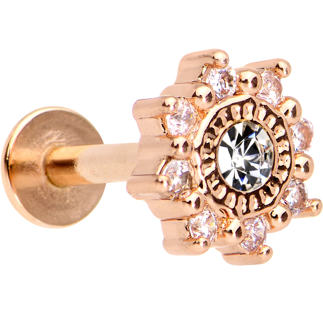 "1/4"" Clear CZ Rose Gold Tone Starflake Cartilage Tragus Earring"
