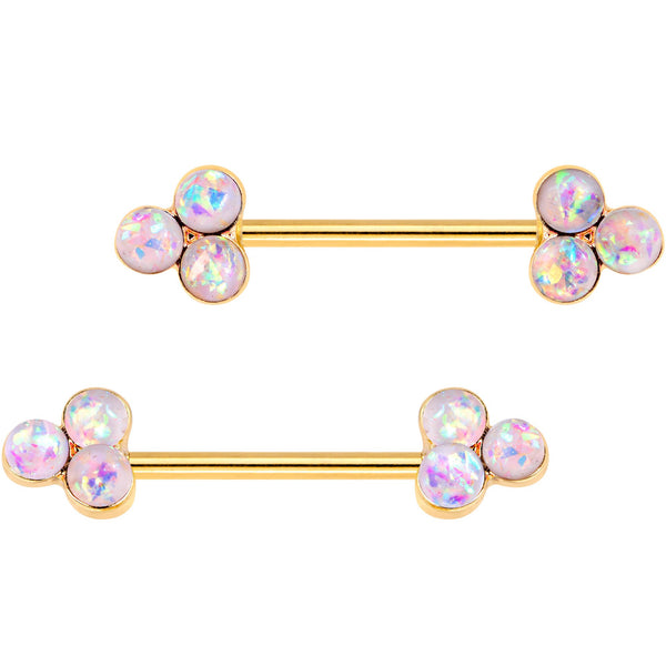 White Faux Opal Gold Tone Plated Triple Circle Barbell Nipple Ring Set