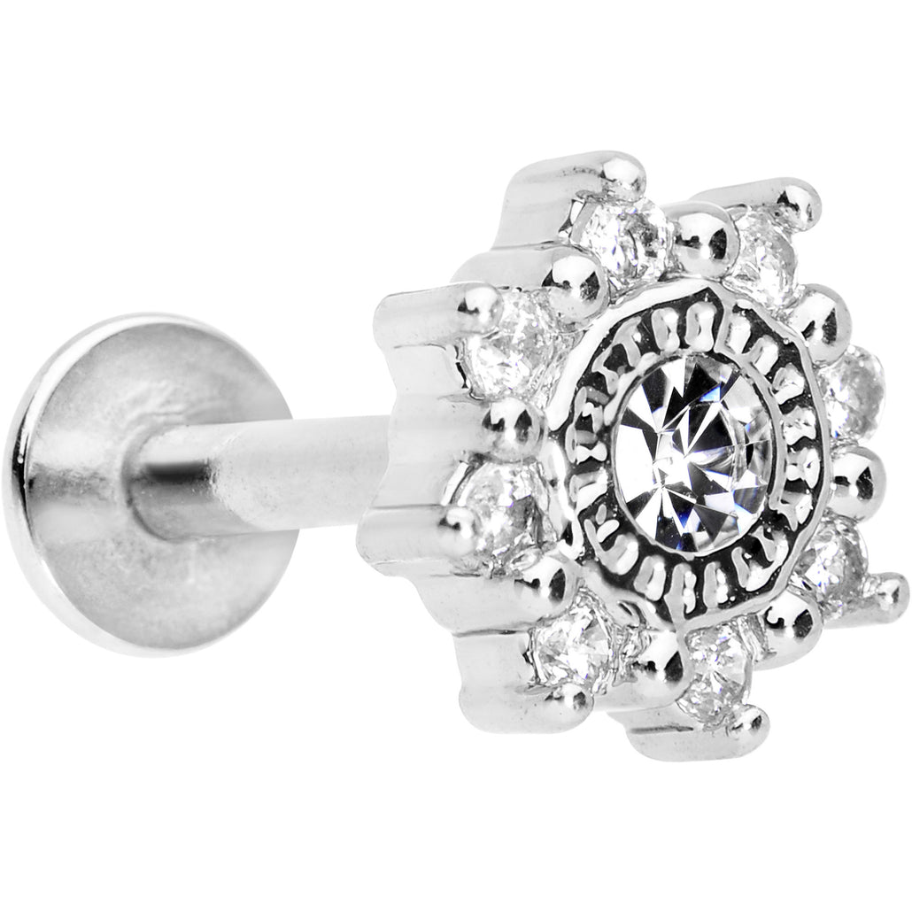 "1/4"" Clear CZ Starflake Cartilage Tragus Earring"