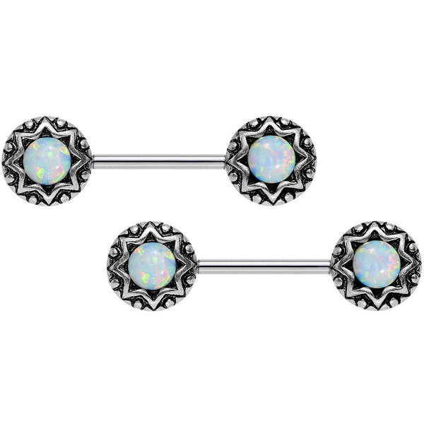 14 Gauge 5/8 White Synthetic Opal Lotus Flower Nipple Barbell Set