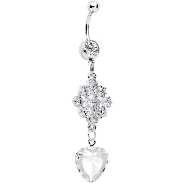 Clear Gem Longing for Winter Snowflake Heart Dangle Belly Ring