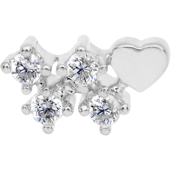 20 Gauge Clear CZ Heart Faux Hoop L Shaped Nose Ring