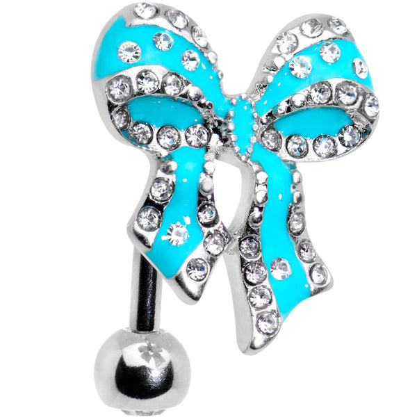 Clear Gem Bedazzled Blue Bow Top Mount Belly Ring