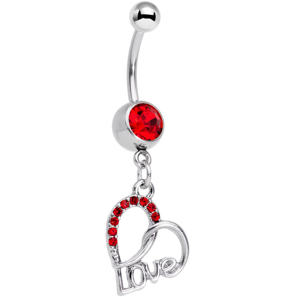 Red Gem Love in Your Heart Dangle Belly Ring