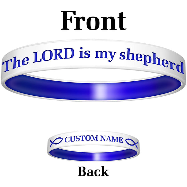 Personalized White Blue Lord Silicone Religious Message Bracelet