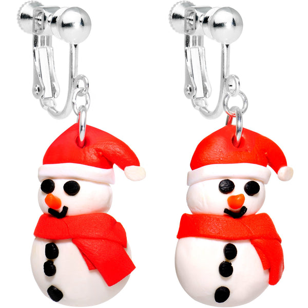 Silver Plated Bundled Up Christmas Snowman Clip On Earrings