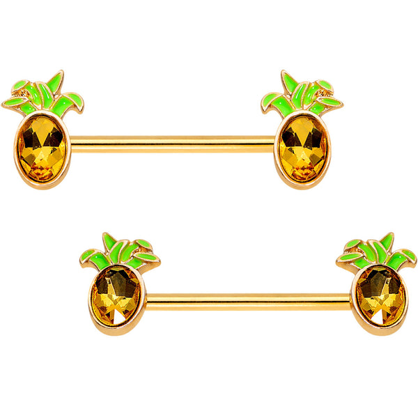 Orange Gem Gold PVD Juicy Pineapple Barbell Nipple Ring Set